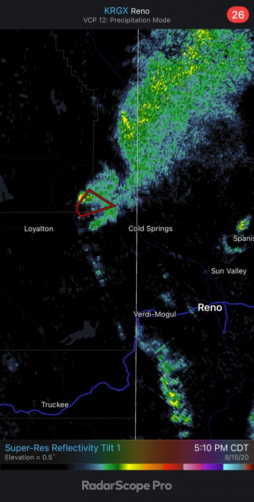 You don't see this too often... a tornado warning issued for a firenado within a pyrocumulus cloud caused by a big wildfire near the CA/NV border. It must be 2020