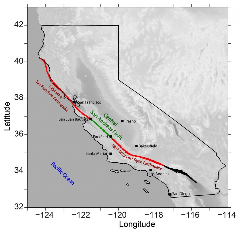 The southernmost segment of the San Andreas Fault (in black) is long overdue for a major rupture