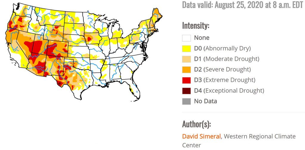 drought usa august 2020, drought iowa august 2020, after derecho now drought in Iowa
