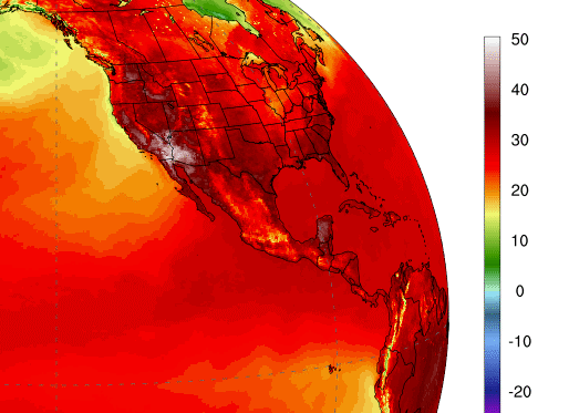 Extreme temperatures usa, record hot temperatures sw usa, july 2020 hottest month on record