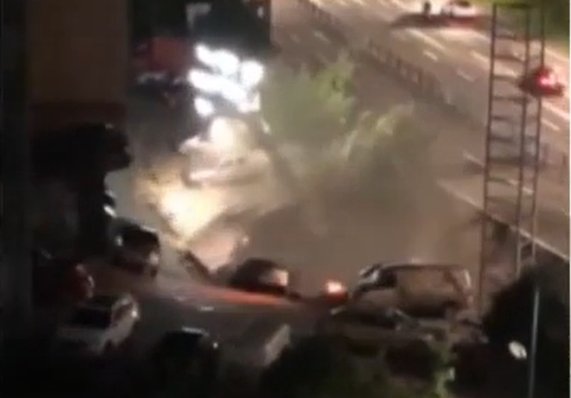 giant sinkhole swallows 21 cars in china in video