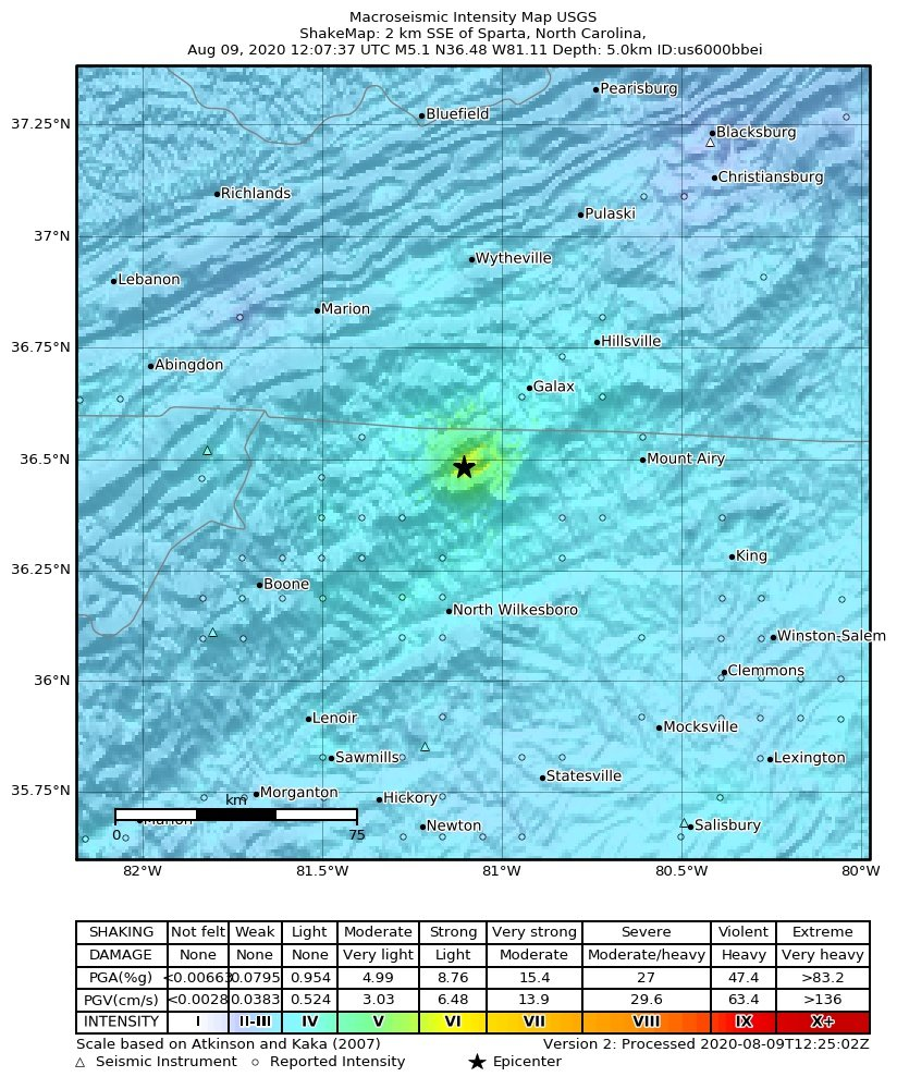 M5.1 earthquake north carolina shake map