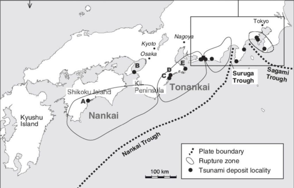 Overview of Holocene Tsunami Deposits along the Nankai, Suruga, and Sagami Troughs, Southwest Japan