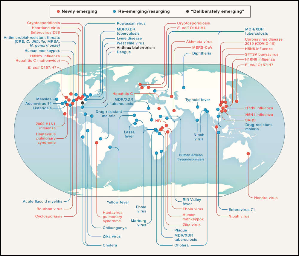 map of new and re-emerging diseases around the world