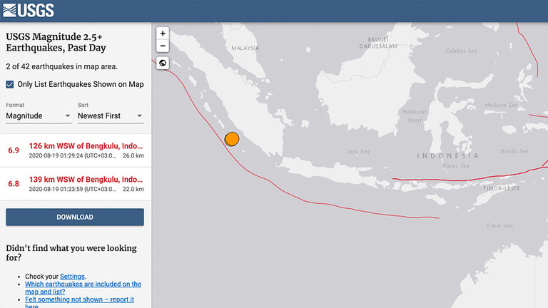 Two strong earthquakes hit off Indonesia's Sumatra Island on August 19, 2020, maybe triggering the eruption of Sinbung volcano a few hours later, Two strong earthquakes hit off Indonesia's Sumatra Island on August 19, 2020, maybe triggering the eruption of Sinbung volcano a few hours later. video, Two strong earthquakes hit off Indonesia's Sumatra Island on August 19, 2020, maybe triggering the eruption of Sinbung volcano a few hours later, pictures
