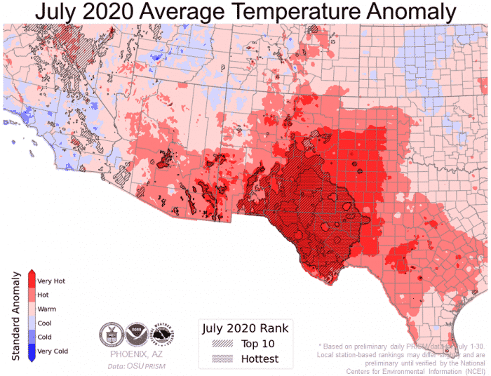 usa hot temperature anomaly july 2020, hot weather usa july 2020, july 2020 record hot temperatures usa