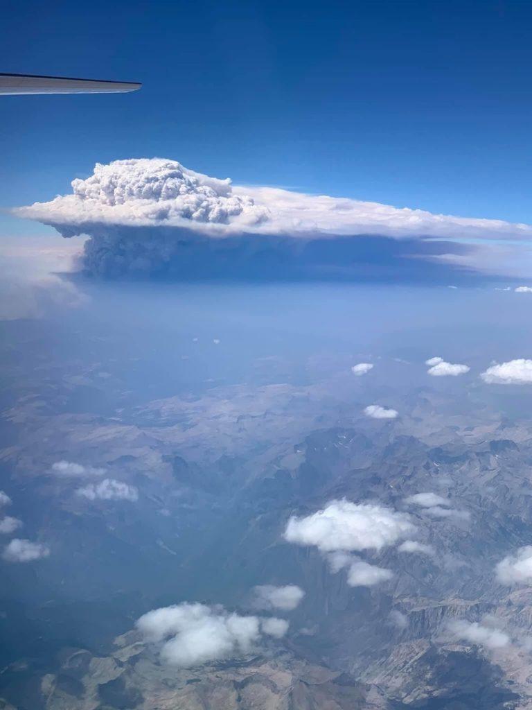 california fire, california fire clouds, california fire clouds look like volcanic eruption, california fire pyrocumulus cloud