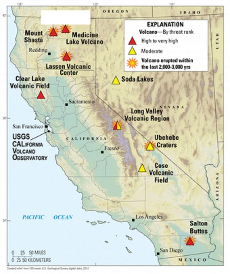 california volcanoes, map of california volcanoes, volcano in california map