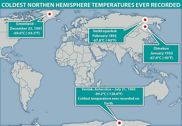 coldest temperatures on earth, new coldest temperature on northern hemisphere measured in Greenland
