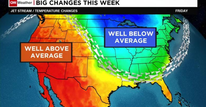 Weather forecast, Weather forecast usa, Weather forecast cold in the east warm in the west