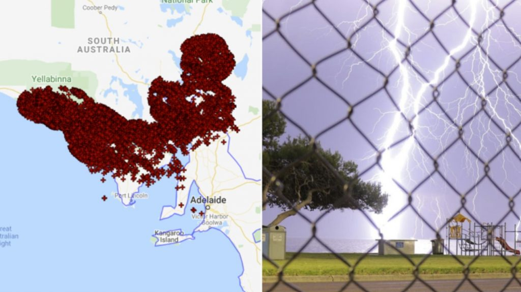 lightning south australia, wild weather south australia, More than 120,000 lightning strikes lit up the night sky over South Australia leaving 19,000 people in the dark