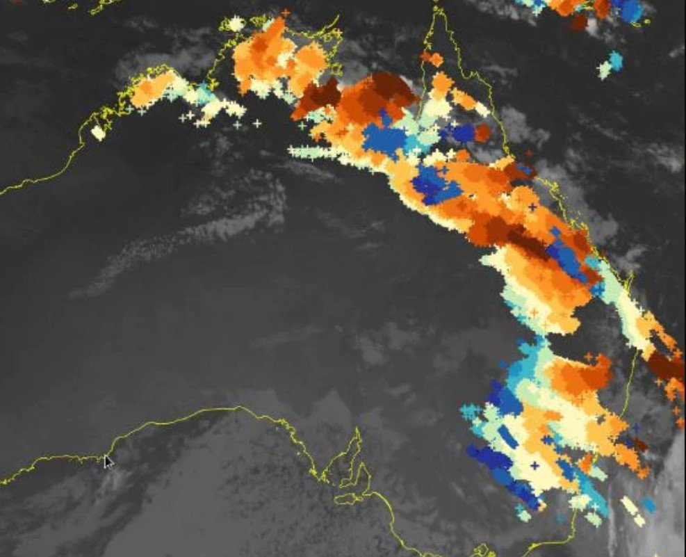 More than 2.24 million lightning strikes were recorded across Australia in the past 48 hours to Monday morning, October 26, 2020. Picture: Bureau of Meteorology