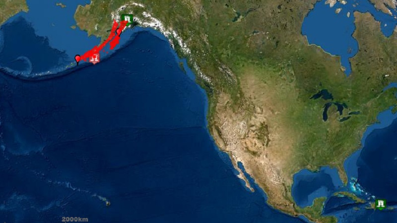 alaska M7.4 earthquake tsunami warning october 19 2020