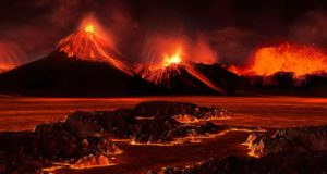 Biggest mass extinction in history 250 million years ago was triggered by an enormous volcanic eruption in Siberia which spewed huge amounts of carbon dioxide into the atmosphere