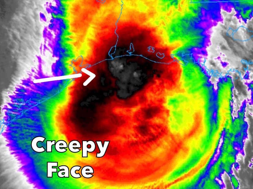 evil face delta, evil face hurricane delta