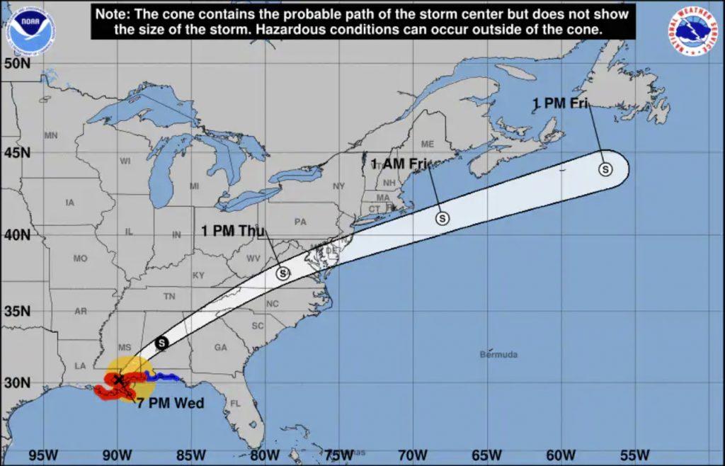 hurricane zeta, hurricane zeta map, hurricane zeta path, hurricane zeta trajectory