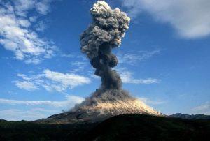 Karymsky volcanic eruption on October 21