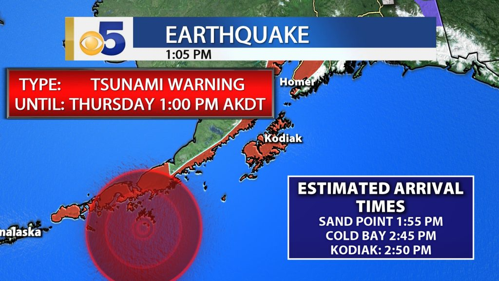 TSUNAMI WARNING IN EFFECT FOR THE SOUTHERN ALASKA COASTAL AREAS BETWEEN AND INCLUDING KENNEDY ENTRANCE, ALASKA (40 MILES SW OF HOMER) TO UNIMAK PASS, ALASKA (80 MILES NE OF UNALASKA). IF YOU ARE IN ONE OF THESE AREAS MOVE TO HIGHER GROUND.
