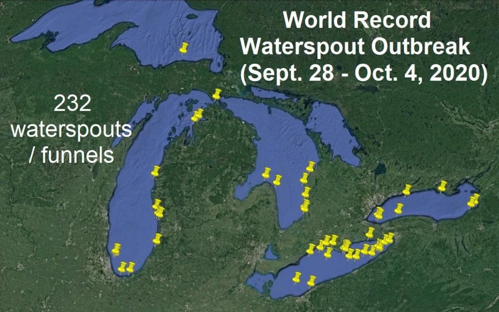 waterspout record great lakes, waterspout record outbreak great lakes, waterspout record great lakes october 2020