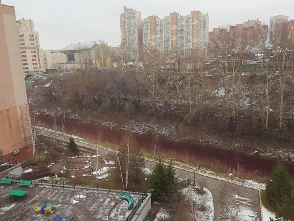 River turns blood red mysteriously in Russia, River turns blood red mysteriously in Russia picture, River turns blood red mysteriously in Russia video, River turns blood red mysteriously in Russia november 2020