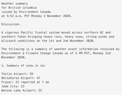 blizzard condition yukon november 2020