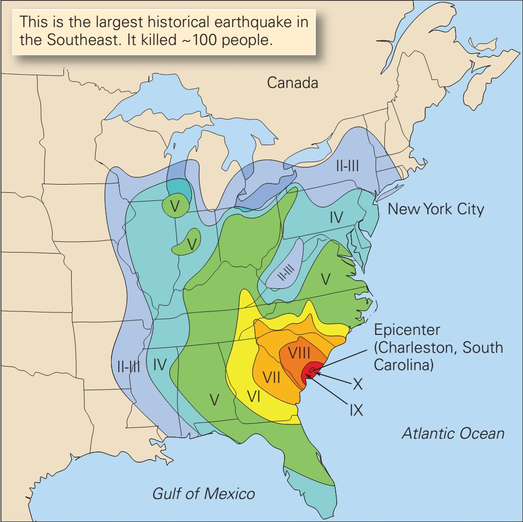 1886 Charleston Earthquake, 1886 Charleston Earthquake map, deadliest us earthquake