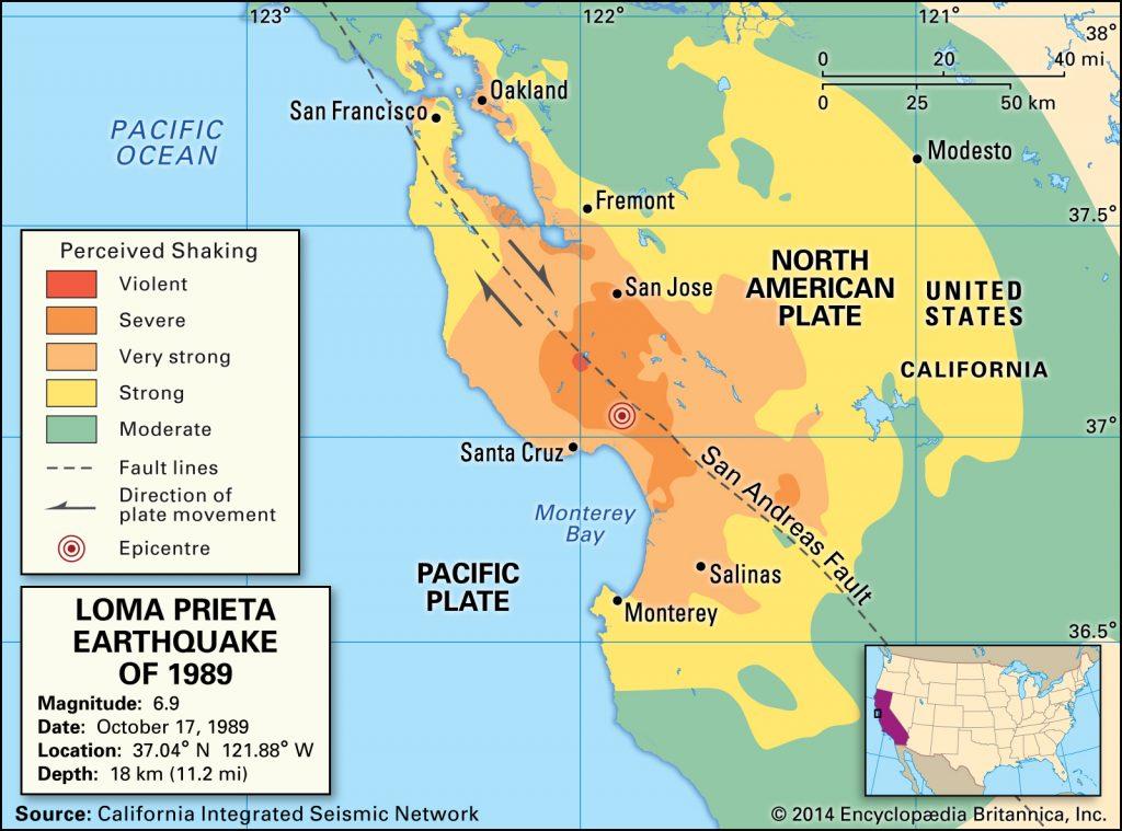 1989 Loma Prieta earthquake map, deadliest earthquake usa 1989 Loma Prieta earthquake map