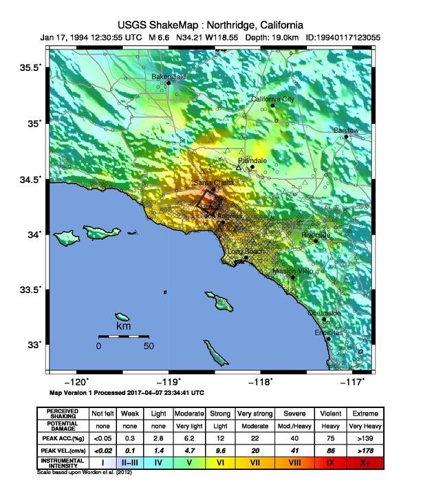 1994 Northridge Earthquake, 1994 Northridge Earthquake map, 1994 Northridge Earthquake deadliest earthquake usa