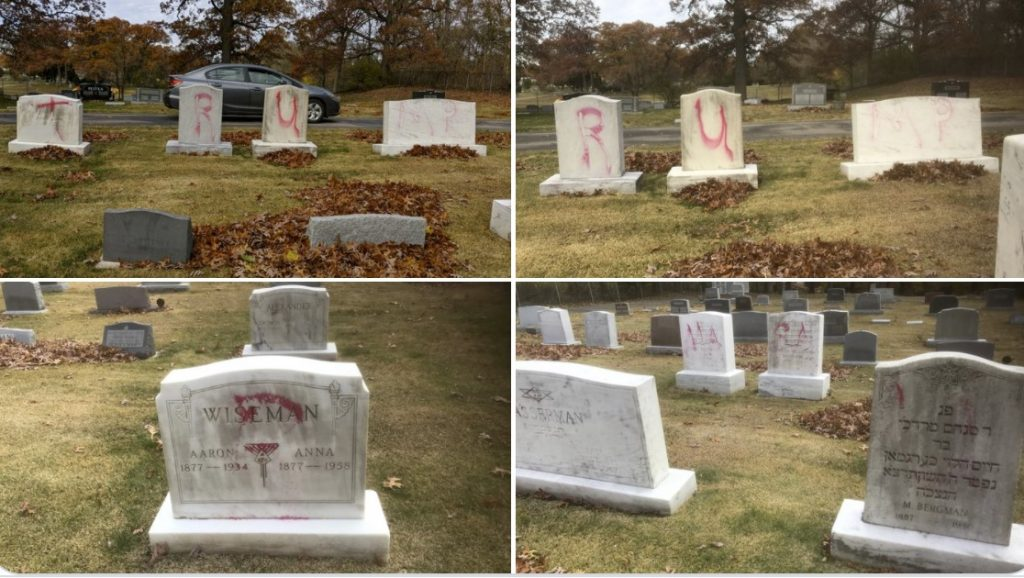 desecration of gravestones at the Ahavas Israel Cemetery in Grand Rapids, MI