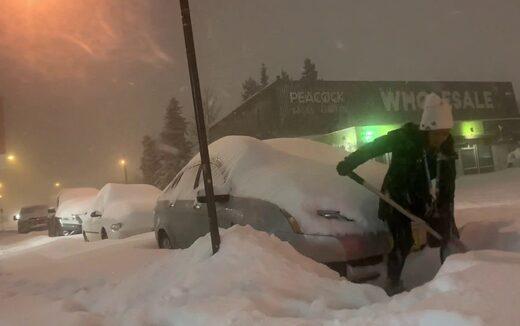 Blizzard conditions, heavy snow and frigid temperatures engulf Alaska and Yukon, Canada.