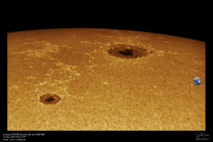 tree large sunspots facing earth november 24 2020