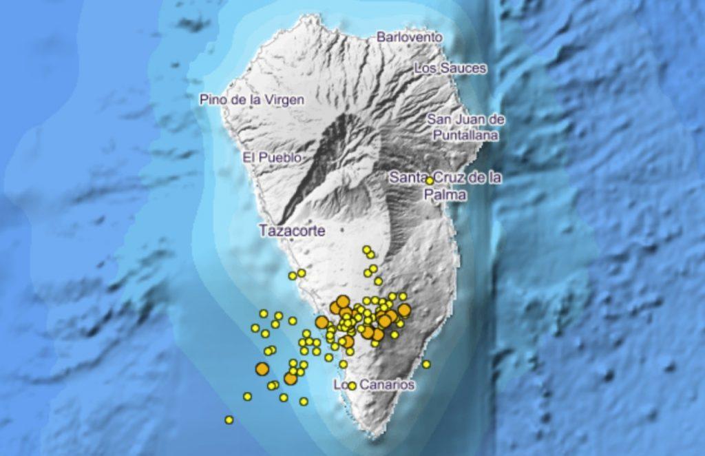 Seismic swarm under the Cumbre Vieja on La palma, Canary Islands between Dec. 23-24, La Palma seismic swarm of 23-24.12.2020 under the Cumbre Vieja canary islands