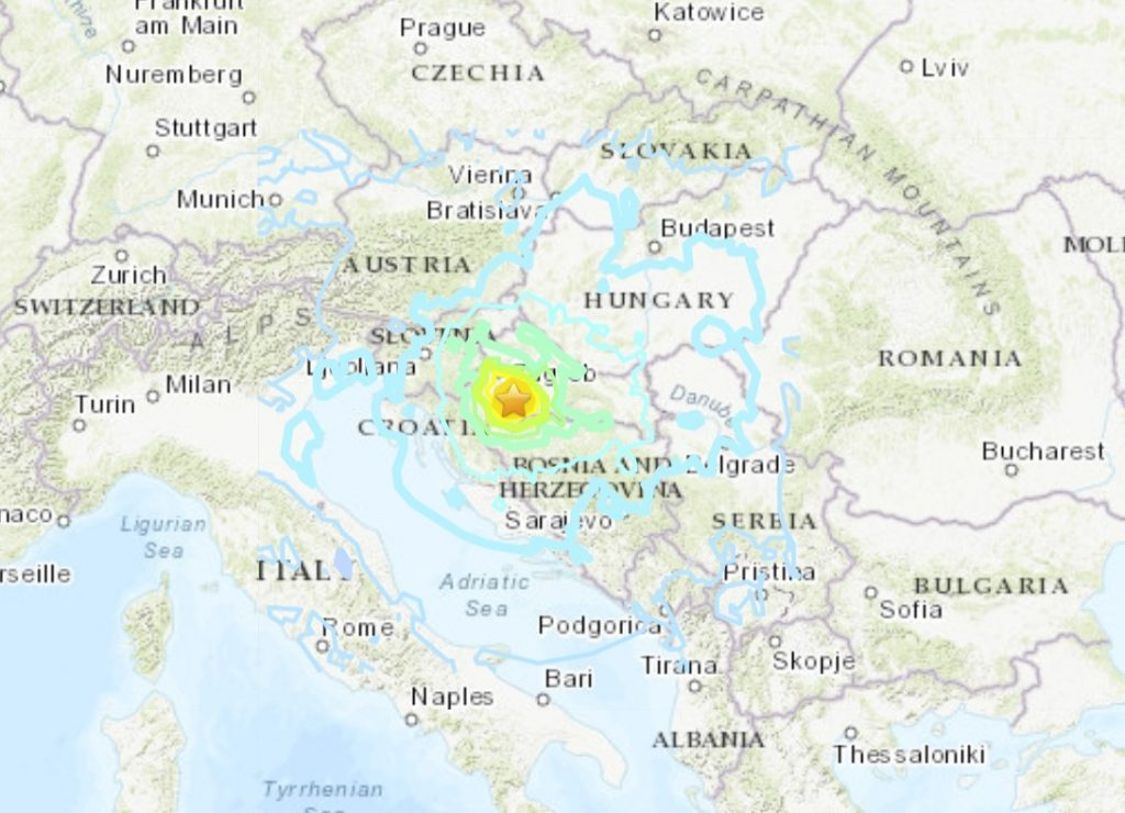 M6.4 earthquake hit Croatia on December 29, M6.4 earthquake hit Croatia on December 29 video, M6.4 earthquake hit Croatia on December 29 pictures, M6.4 earthquake hit Croatia on December 29 map