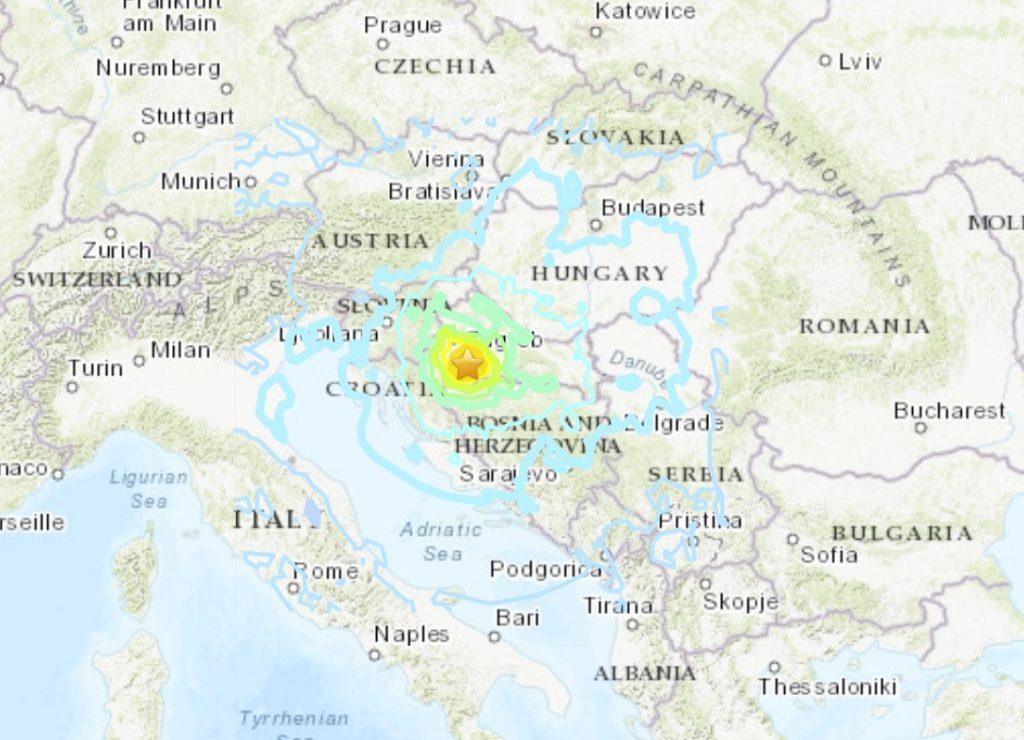 M6.4 earthquake hit Croatia on December 29, M6.4 earthquake hit Croatia on December 29 video, M6.4 earthquake hit Croatia on December 29 pictures, M6.4 earthquake hit Croatia on December 29 map