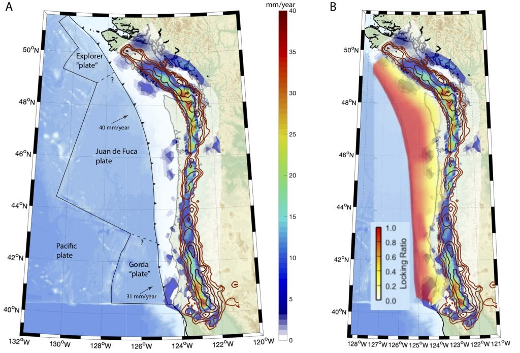 danger zone along cascadia fault zone due to study of slow slip events
