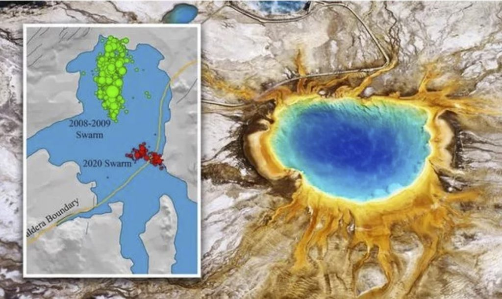earthquake swarm in Yellowstone caldera reactivates ancient fault formed during the last supervolcano eruption, A current earthquake swarm in Yellowstone caldera reactivated an ancient fault formed during the last supervolcano eruption 631,000 years ago