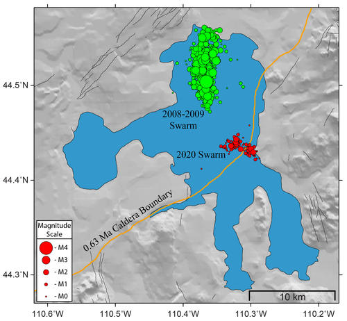 yellowstone lake earthquake swarm 2020, Comparison between the Yellowstone Lake earthquake swarm of December 2020 and the Yellowstone Lake earthquake swarm 2008-2009