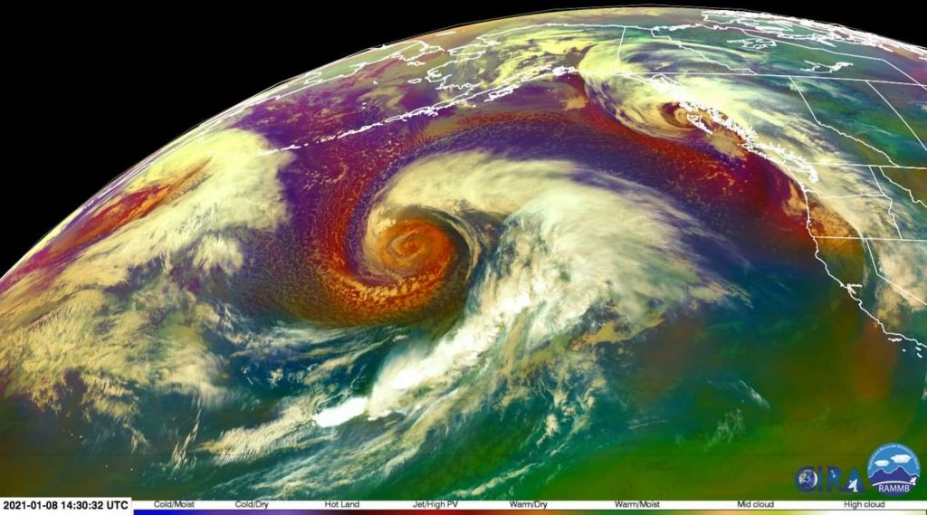 Another bomb cyclone forms in the Northern Pacific near Alaska