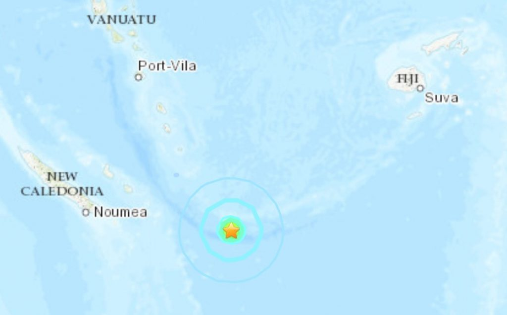 M6.0 earthquake Loyalty Islands, New Caledonia. Map via USGS