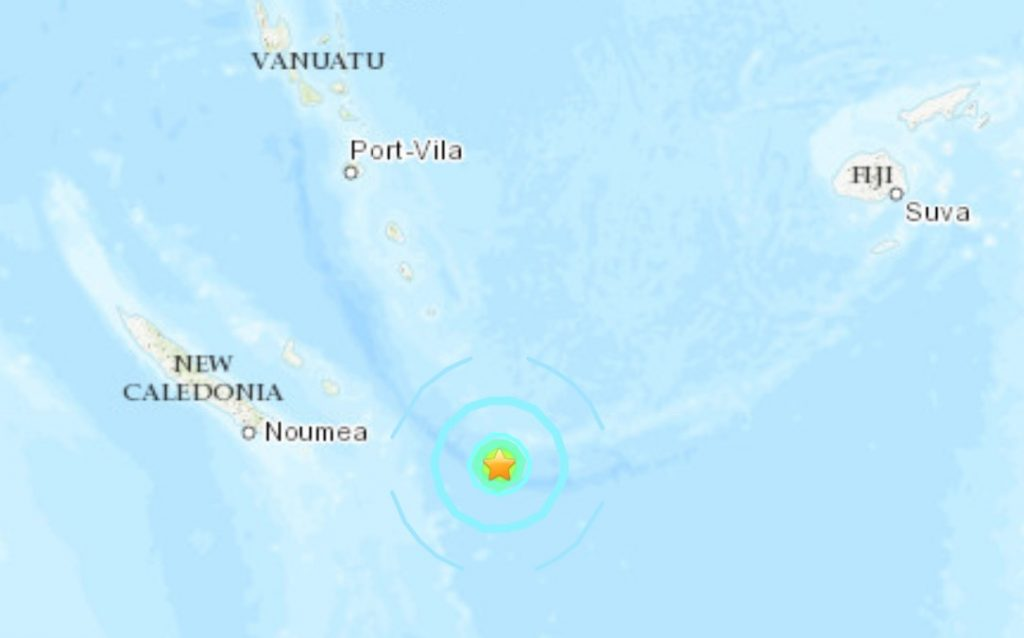 M6.1 earthquake Loyalty Islands, New Caledonia. Map via USGS