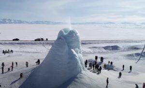Giant ice volcano erupts in Kazakhstan, ice volcano kazakhstan, ice volcano, ice volcano eruption, ice volcano explosion kazakhstan