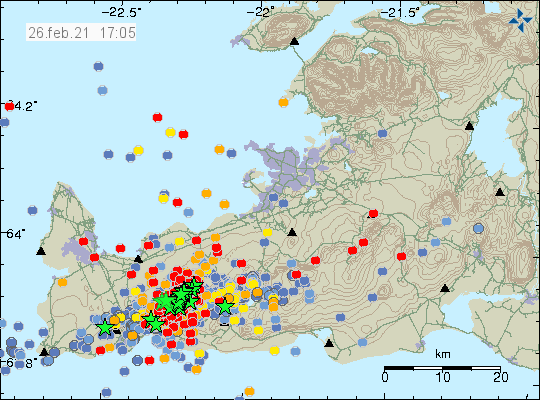 iceland earthquake swarm and inflation at Thorbjörn, Fagradalsfjall and Krysuvik volcanoes