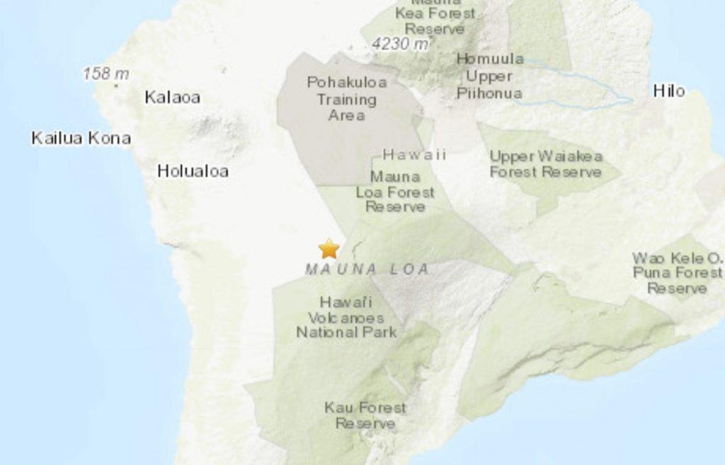 Mauna Loa earthquake swarm, Mauna Loa earthquake swarm in March 2021, Mauna Loa earthquake swarm in March 2021 map