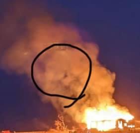 face appear in smoke of burning church in nebraska