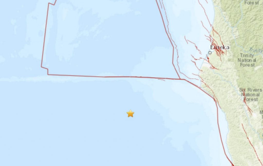 M4.6 earthquake 153 km W of Shelter Cove, California