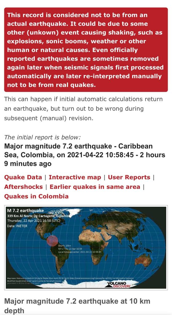M7.2 earthquake reported off Colombia on April 22 2021