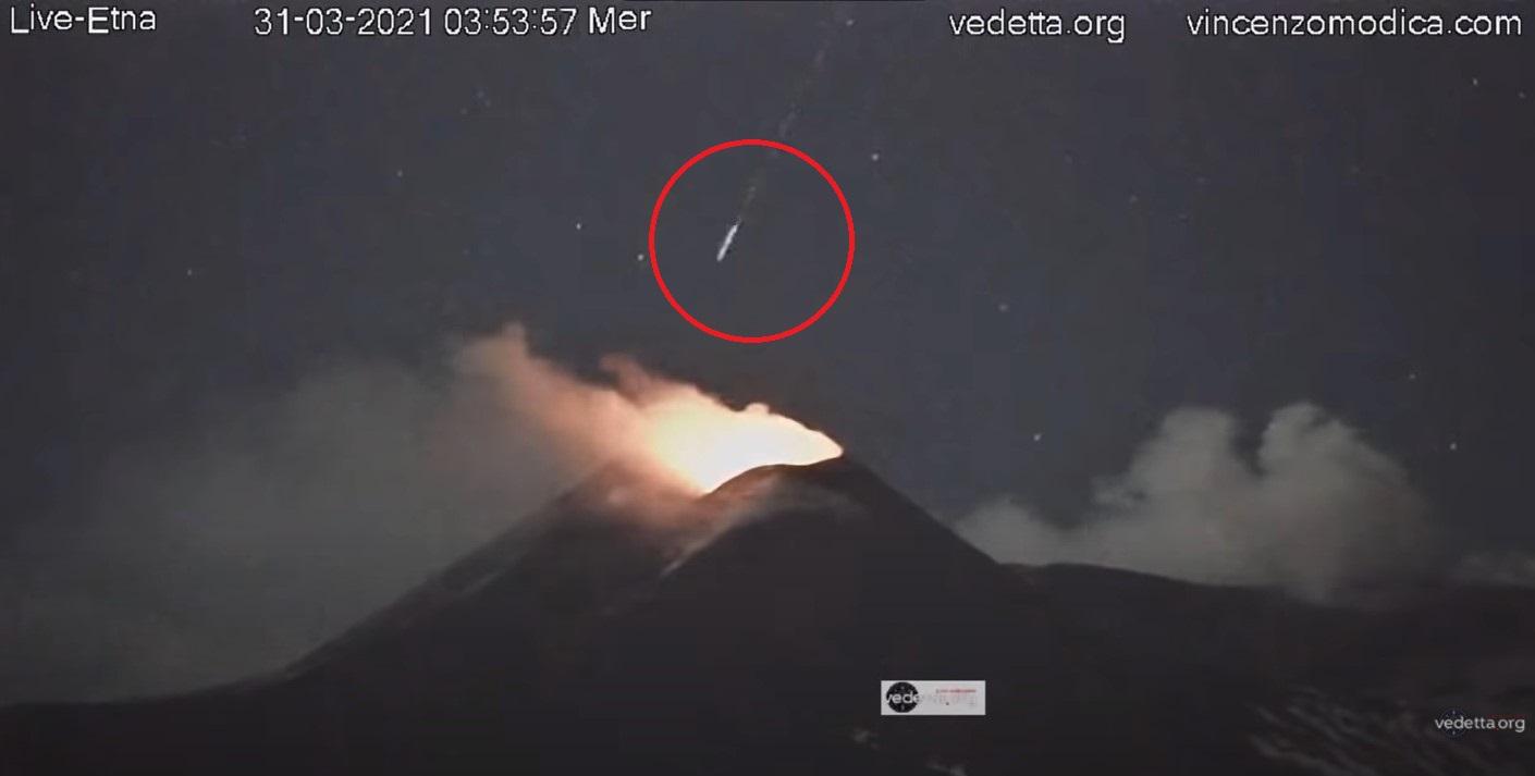 UFO or meteor dives into erupting Etna volcano in video - Strange Sounds