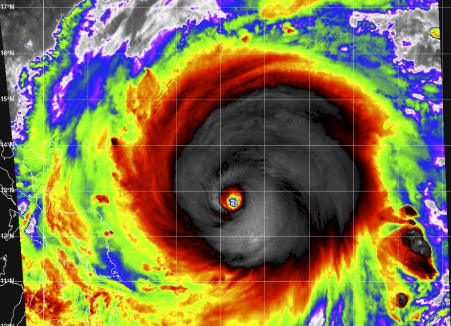 Surigae is now the strongest typhoon on record for April as it approaches the Philippines - sustained winds of 180mph