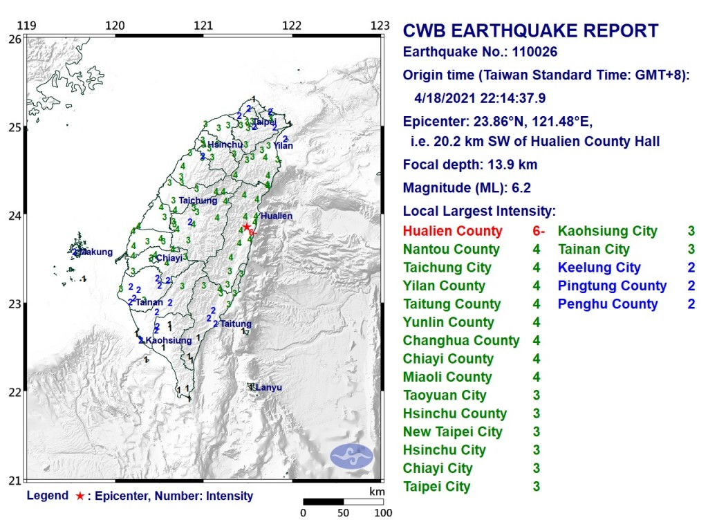 M6.2 earthquake hits Taiwan, M5.8 earthquake hits Taiwan