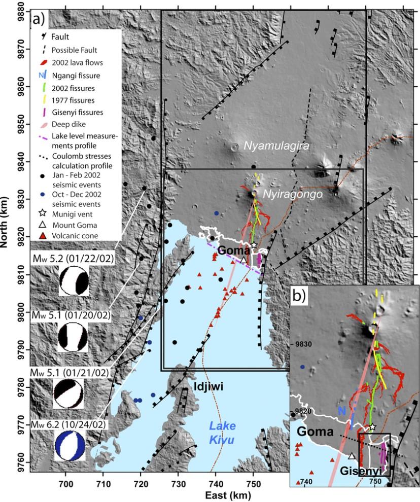 Goma Lake Kivu nyiragongo volcano map